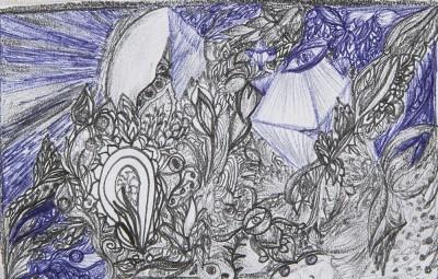 Underwater Garden (paper, pencil, ink)